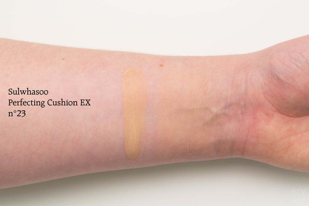 Sulwhasoo Peach Blossom Spring Utopia 2018 collection: Perfecting Cushion EX swatch