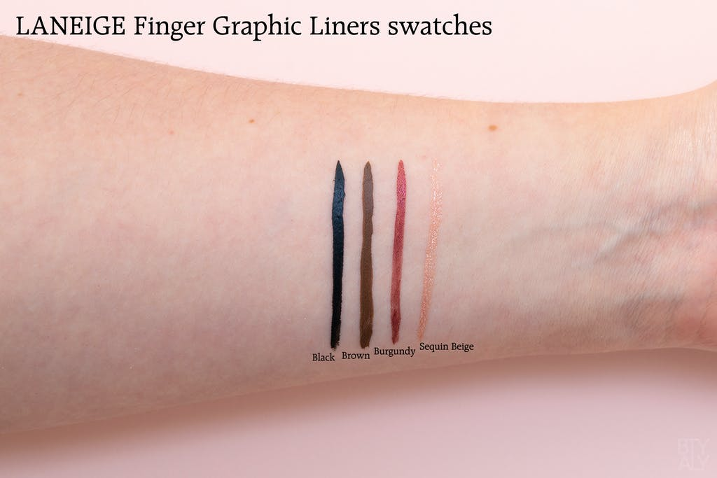 LANEIGE Finger Graphic Liner Black, Brown, Burgundy, Sequin Beige swatches