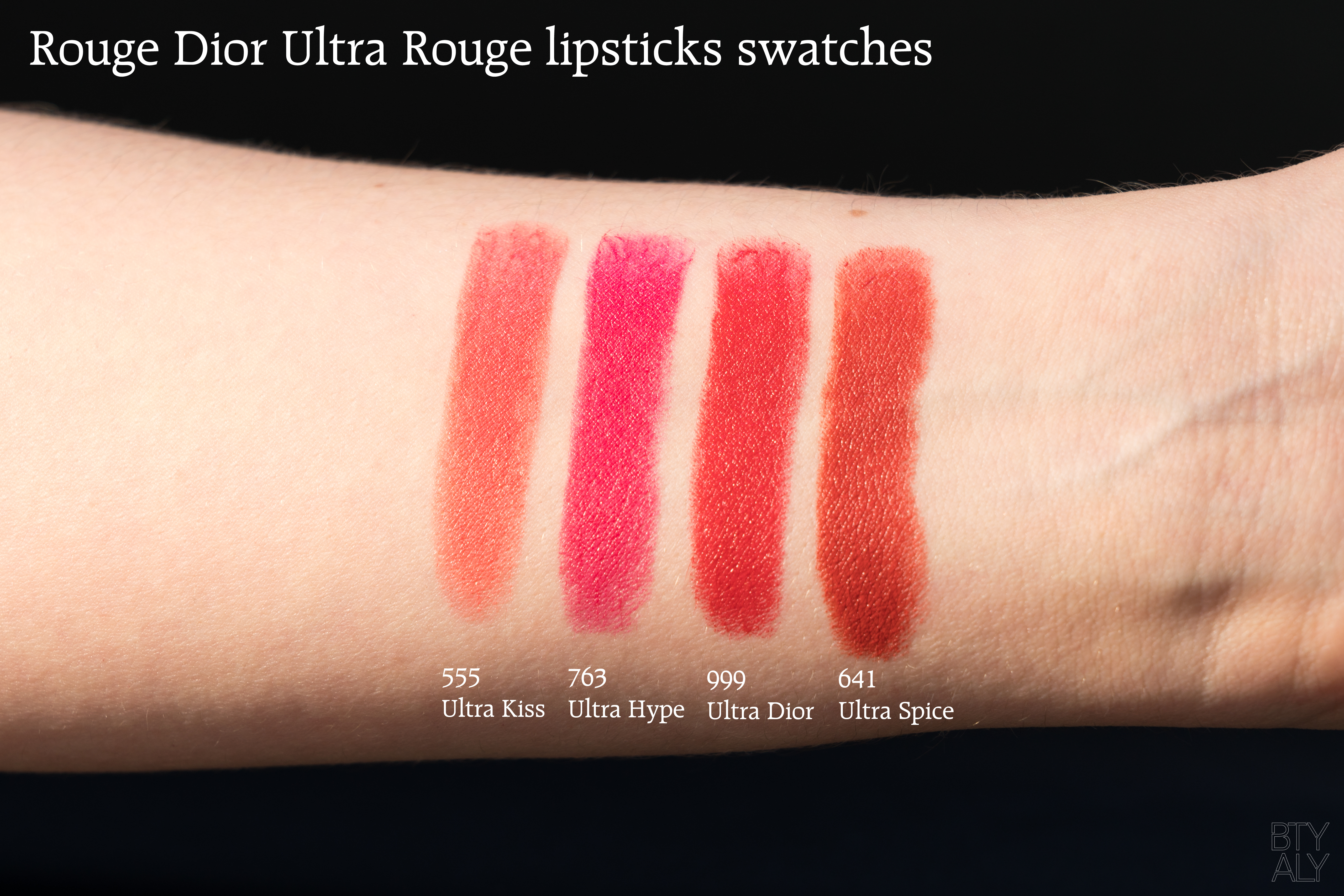 Rouge Dior Ultra Rouge Lipsticks 555, 641, 763, 999 swatches