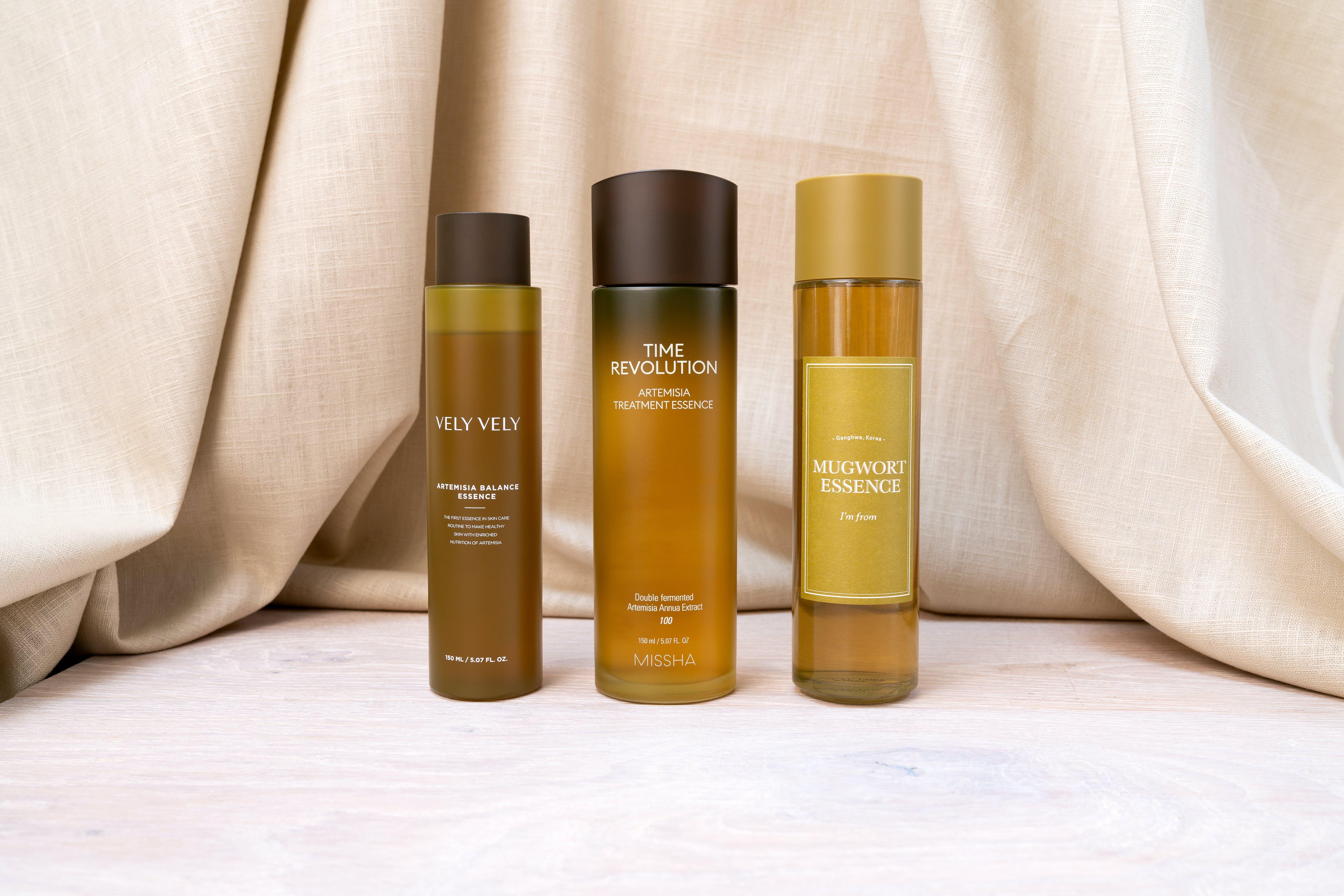 Vely Vely Artemisia Balance Essence, Missha Time Revolution Artemisia Treatment Essence, I'm From Mugwort Essence