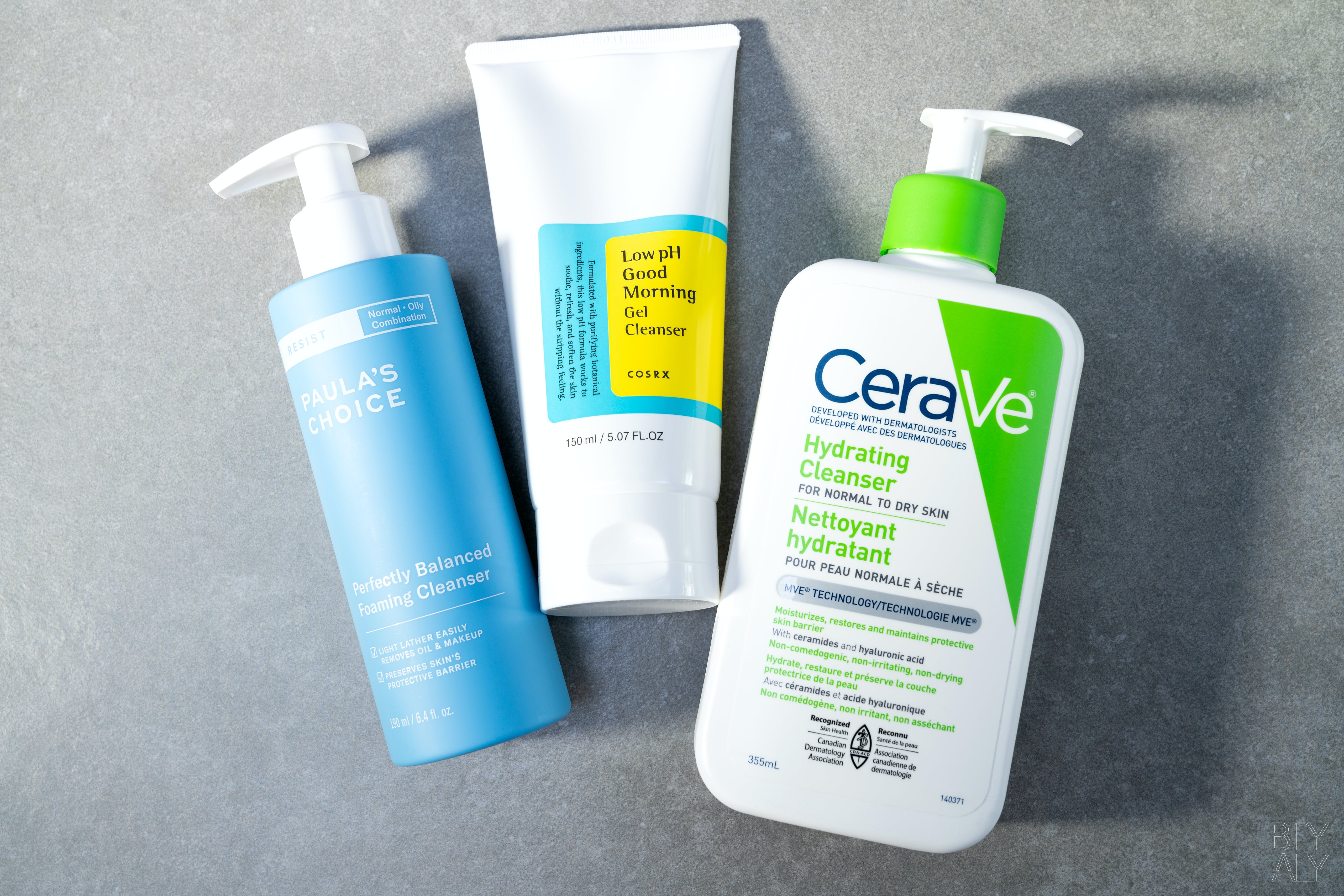 How To Cleanse Properly Your Skin PaulaPaula's Choice Optimal Results Hydrating Cleanser, CeraVe Hydrating Cleanser, Cosrx Low pH Good Morning Gel Cleansers Choice Cerave Cosrx