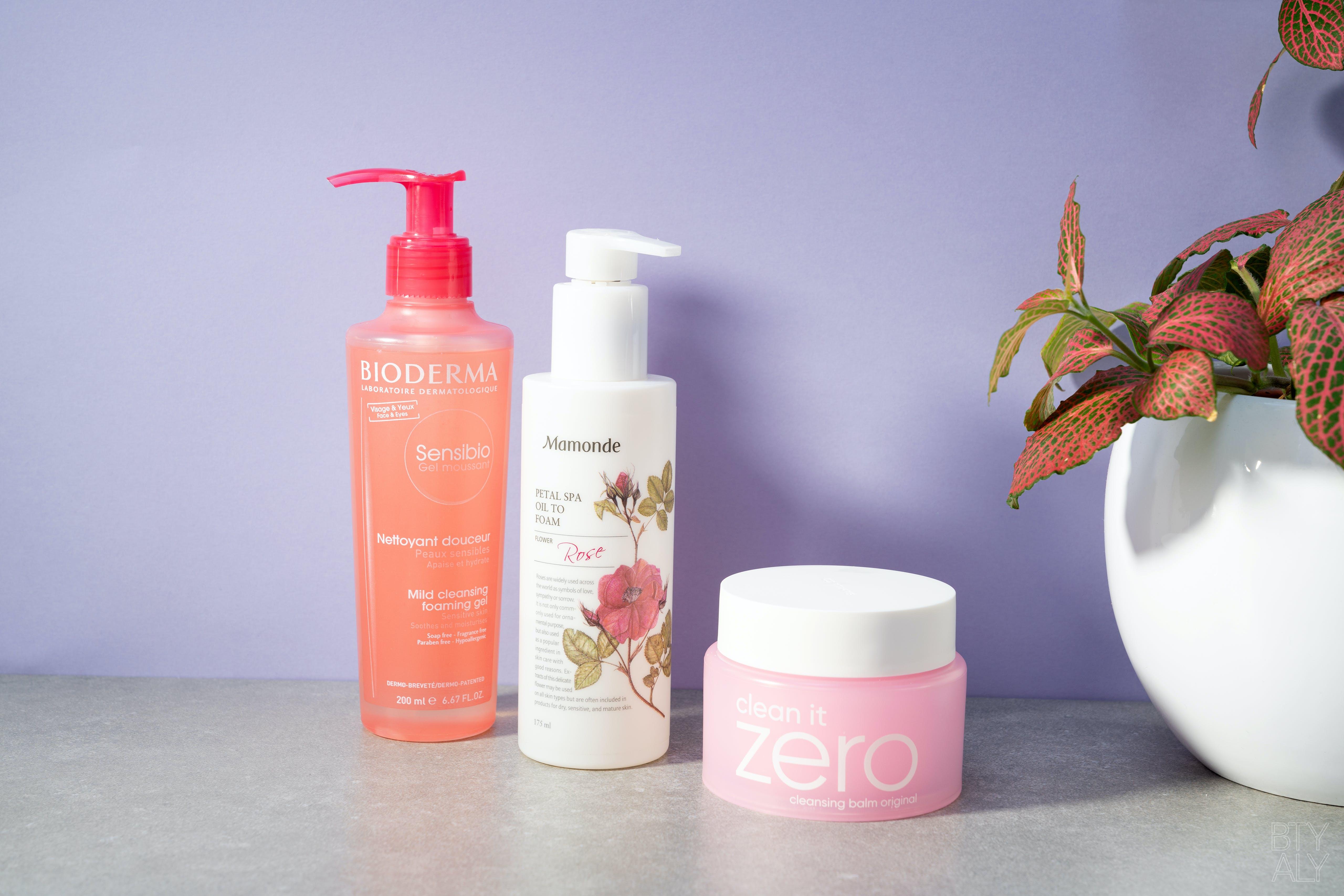 Banila Co Clean It Zero Cleansing Balm, Bioderma Sensibio Cleansing Gel, Mamonde Petal Spa Oil To Foam