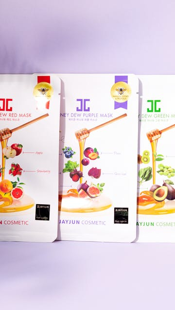 Jay Jun Cosmetics Honey Dew Red, Purple, Green Masks