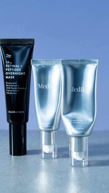 Retinal: Allies of Skin 1A Retinal + Peptides Overnight Mask, Medik8 Crystal Retinal 6 & 10