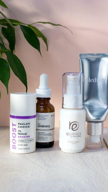 Paulas Choice 1% Retinol Booster, The Ordinary Granactive Retinoid 2% Emulsion, Shani Darden Retinol Reform, Medik8 Crystal Retinal 6