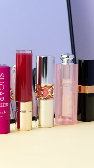 Spring 2019 Lip Balms: Fresh Sugar Tinted Lip Treatment Orchid, Clarins Joli Rouge Lacquer, YSL Rouge Volupté Plump In Color, Dior Lip Glow To The Max, CHANEL Rouge Coco Flash