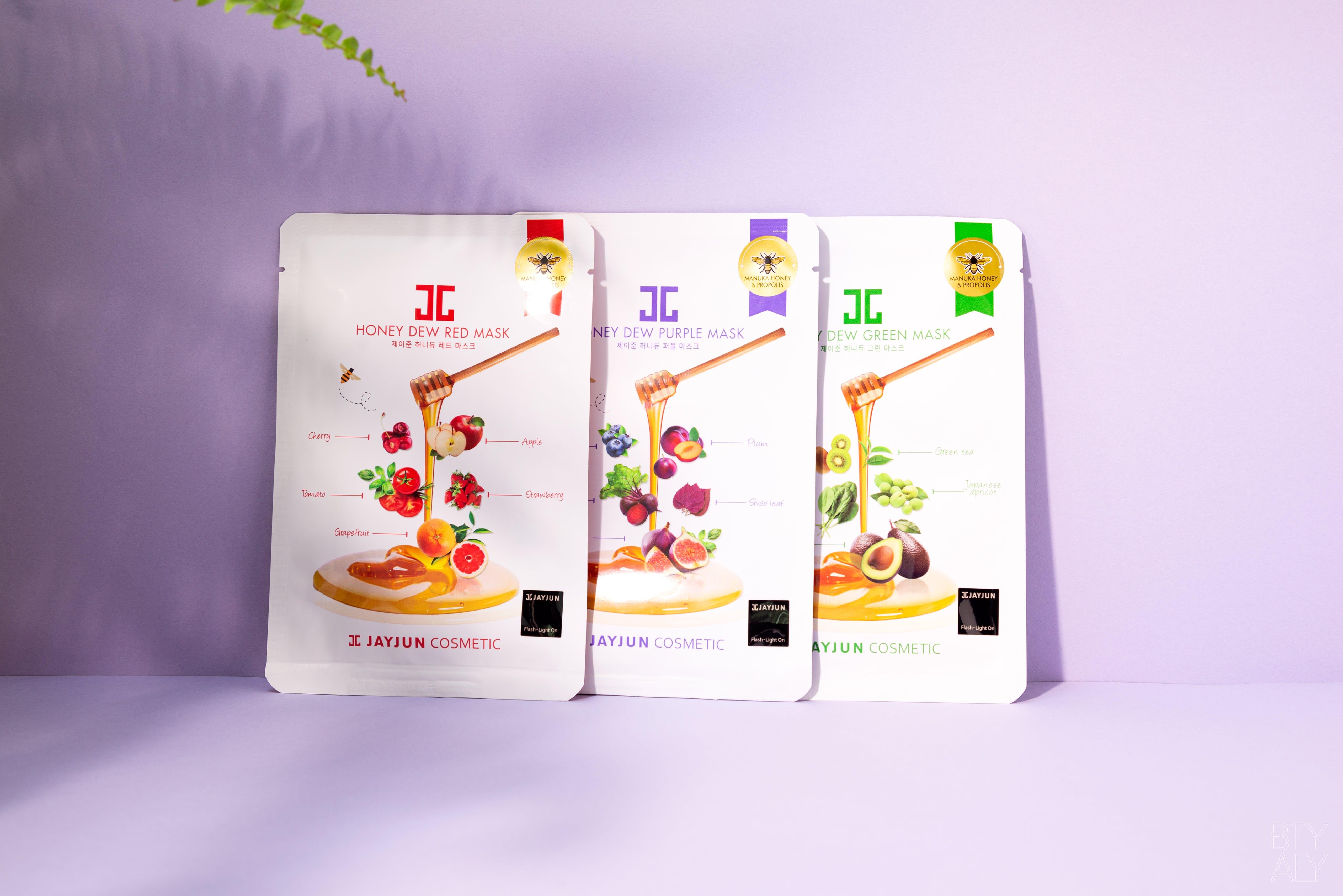 Jay Jun Cosmetics Honey Dew Red, Purple, Green Masks