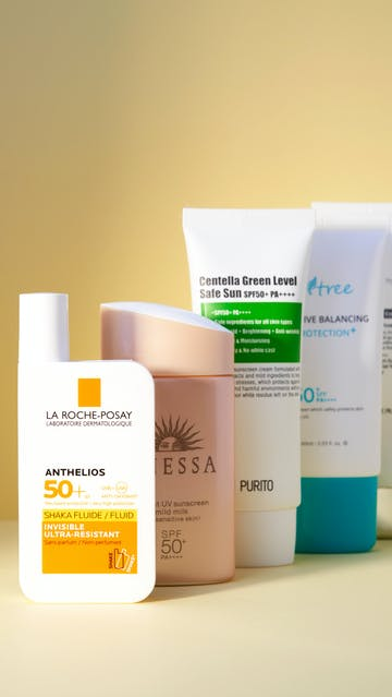 La Roche Posay Anthelios Shaka Fluide SPF 50+, Shiseido Anessa essence UV sunscreen mild milk, Isntree Sensitive Balancing Sun Protection, Klairs Soft Airy UV Essence, Purito Centella Green Level Safe Sun
